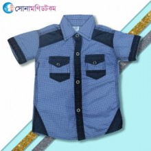 Boys Half Sleeve Shirt- Blue Print