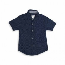 Baby Half Sleeve Shirt Dot Print - Navy Blue