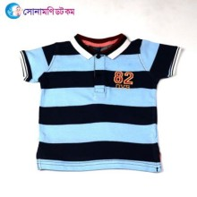 Baby Polo T-Shirt-Sky & Black Color