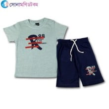 Baby T-Shirt With Shorts Set - Turquoise & Navy Blue