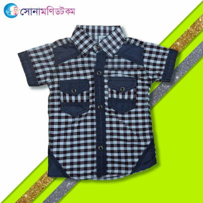 Boys Half Sleeve Shirt- Red and White Check