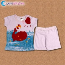 Baby T-Shirt With Shorts Set - Light Pink