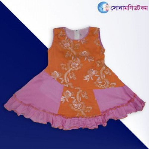 leeveless Frock - Pink with Orange