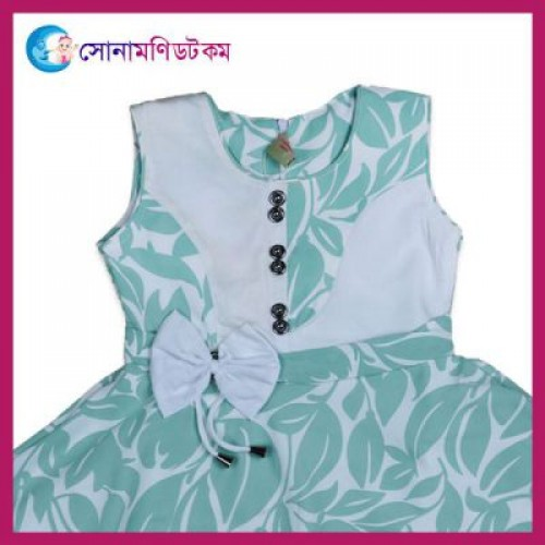 Girls Frock With Pant Set - Turquoise