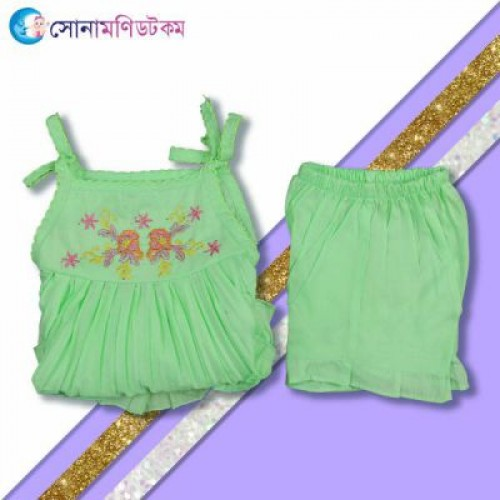 Baby Frock and Shorts Set – Green