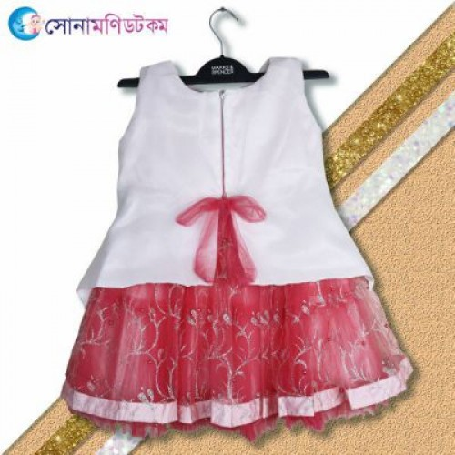 Girls Party Frock - White And Pink