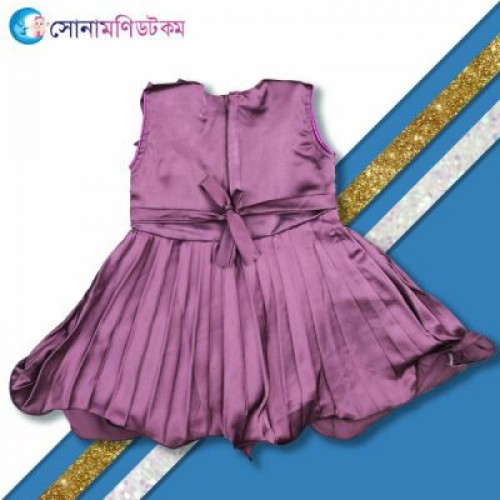 Girls Frock with Necklace - Purple