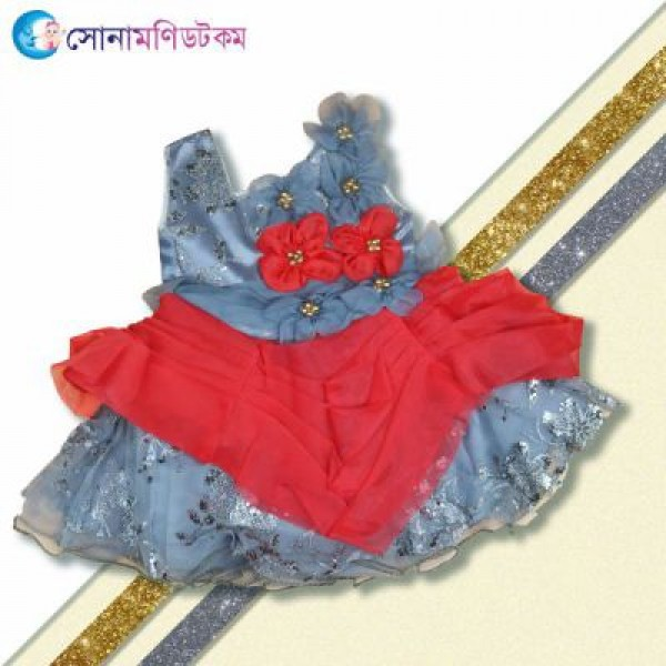 Girl Sleeve less Frock - Ash and Red | Frocks & Dresses | GIRLS FASHION at Sonamoni.com