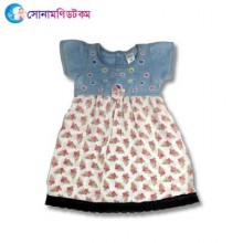 Girls Frock Printed - White