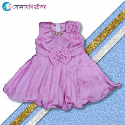 Girls Frock with Necklace - Light Purple