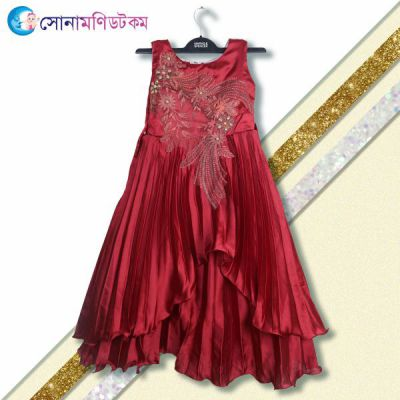 Girls Party Frock - Maroon