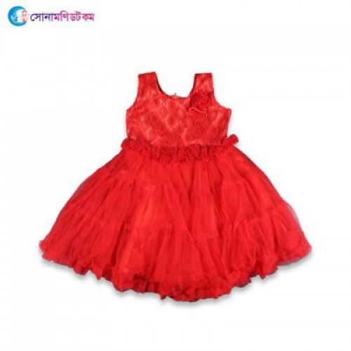Girls Party Frock - Red