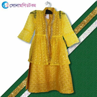 Girls Party Frock - Yellow