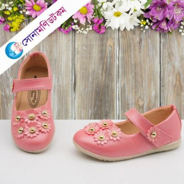Baby Belly Shoes Flower Applique – Pink   Party Shoes   FOOTWEAR at Sonamoni.com