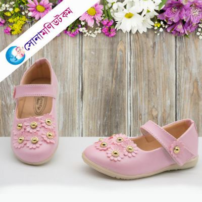 Baby Belly Shoes Flower Applique-Light Pink