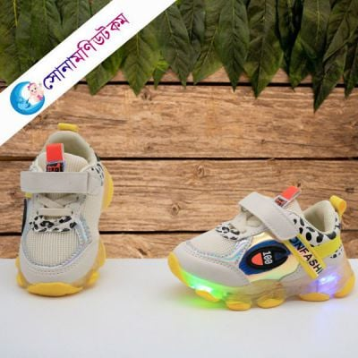 Baby Sports Shoes LED - White & Yellow