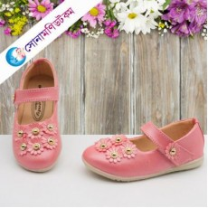 Baby Belly Shoes Flower Applique – Pink