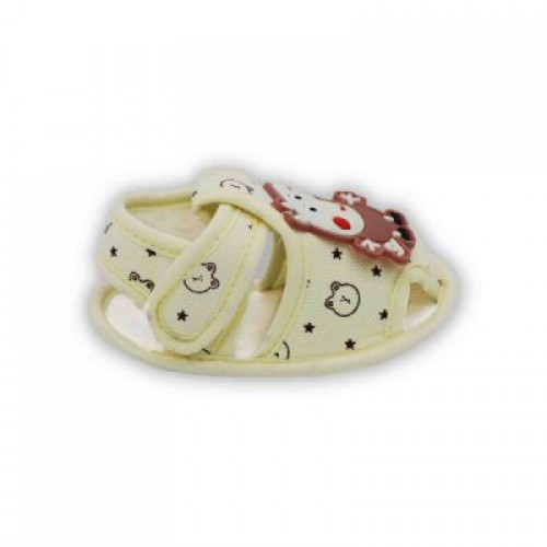 Baby Cloth Sandals Pig Applique - Yellow