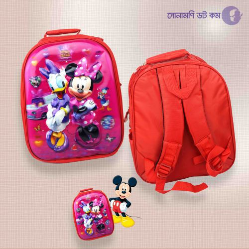 School Bag Micky Mouse Print - Red