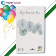 Birthday Fans Party Decoration- 6 piece-white