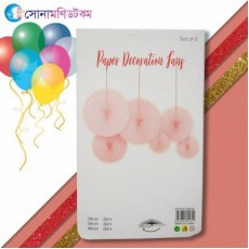 Birthday Fans Party Decoration- 6 piece-Red