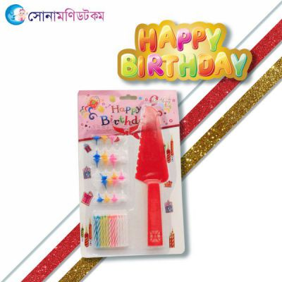 Birthday Candle With Holders And Knife-Red