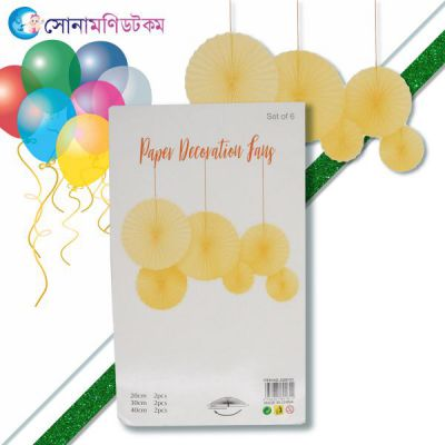 Birthday Fans Party Decoration- 6 piece-yellow