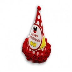 Birthday Flower Cap Micky Mouse Print - Red