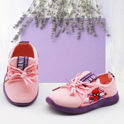 Baby Sports Shoes Spiderman Print - Pink