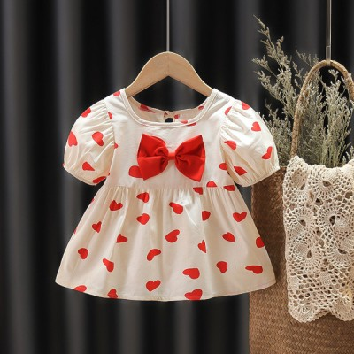 Baby Frock Western Style - Cream & Red