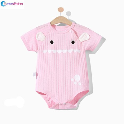Baby Short-Sleeve Triangle Romper - Pink