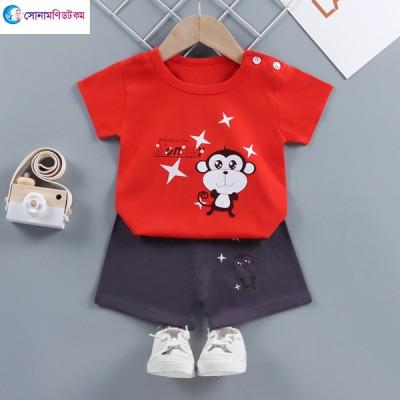 Baby T-Shirt With Shorts Set - Maroon