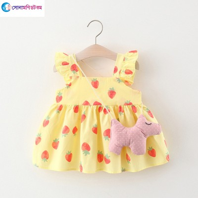 Baby Wing Dress & Puppy Bag - White & Yellow