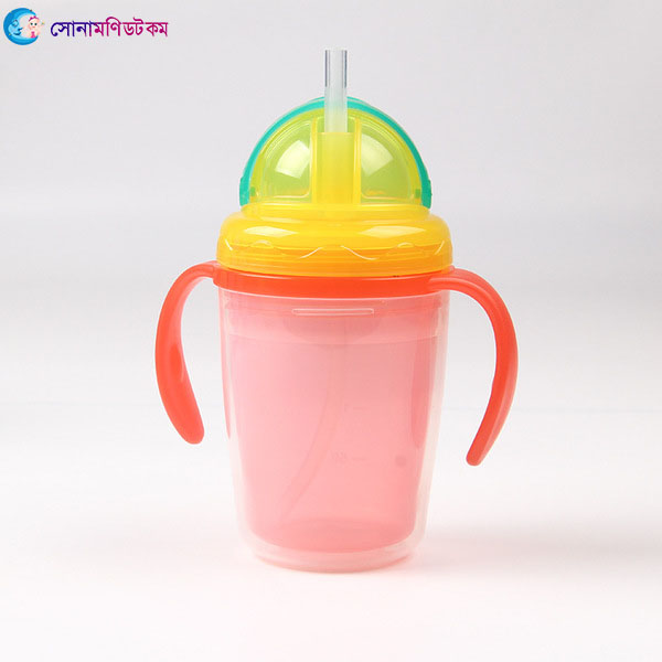 Double Layer Insulation Straw Cup 240 ml - Red