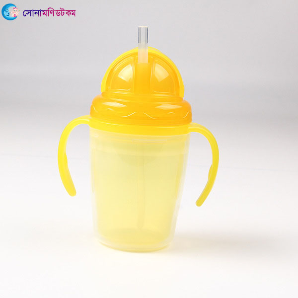 Double Layer Insulation Straw Cup 240 ml - Yellow   Sippers & Cups   FEEDING & NURSERY at Sonamoni.com