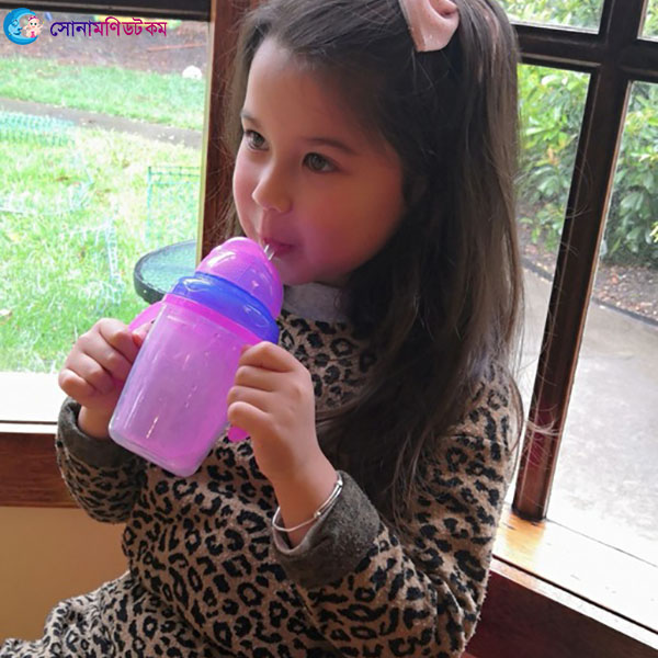 Double Layer Insulation Straw Cup 240 ml - Pink