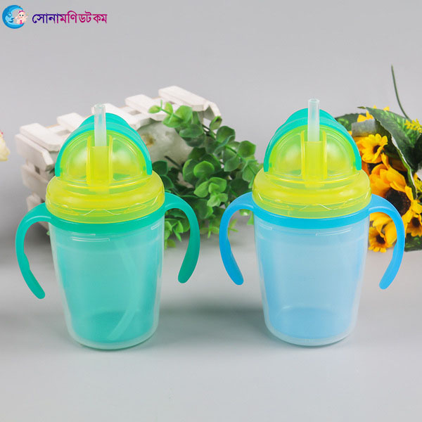 Double Layer Insulation Straw Cup 240 ml - Green   Sippers & Cups   FEEDING & NURSERY at Sonamoni.com