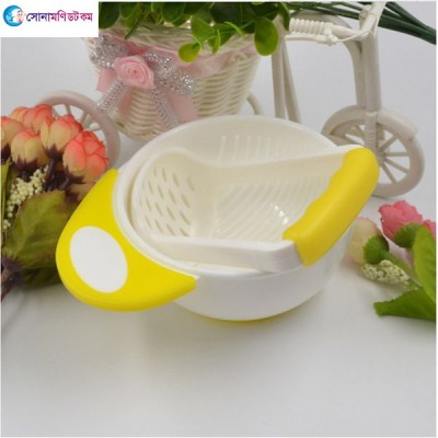 Baby Food Feeding Bowl & Masher – Yellow Color