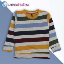 Baby Sweat Shirt-Olive, yellow, Blue And, gray Stripe
