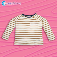 Kids Full sleeves T-shirt- White With Brown Stripe