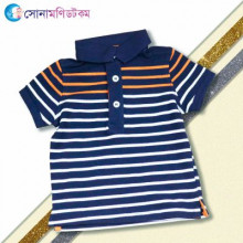 Kids Polo T-Shirt- Navy Blue With Stripe