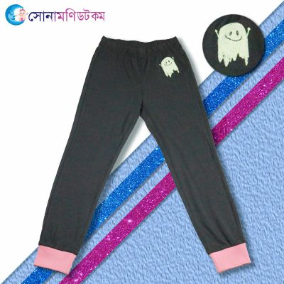 Girls Ties Pant- Ash with Pink