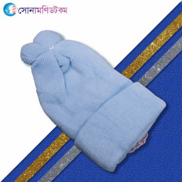 Baby Woolen Cap - Sky Blue | Caps, Gloves & Others | Winter Collection at Sonamoni.com