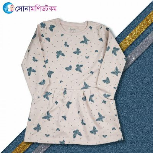 Girls Full Sleeve Frock Butterfly Print   Girls Frocks & Tops   Winter Collection at Sonamoni.com