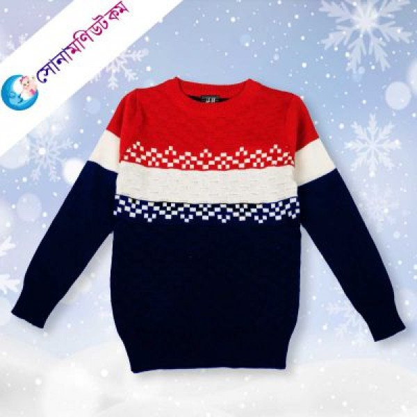 Baby Sweater - Navy Blue & Red | Winter Collection | BOY FASHION at Sonamoni.com